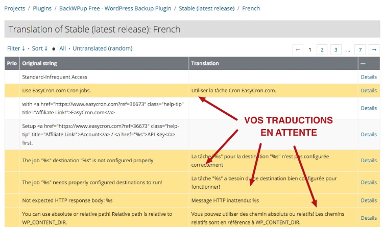 capture: Liste des chaines en attente dans l'extension WordPress