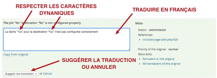 capture: Traduire une chaine de l'extension WordPress